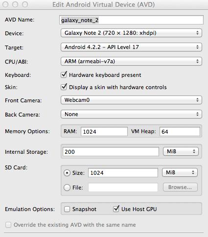 Samsung Galaxy Emulator AVD